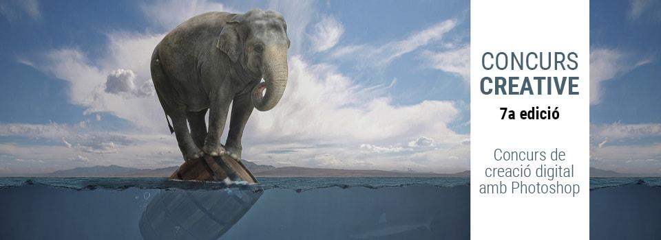 Cartel de la séptima edición del Creative. Un elefante surca el mar sobre un bote.